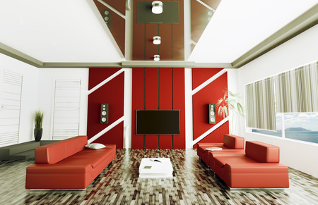 Inter of modern living room with lcd 3d render Stock Photo - 23035700