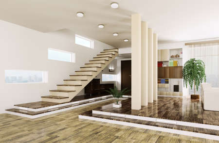 Interior of modern entrance hall with staircase 3d render Stock Photo - 23035702