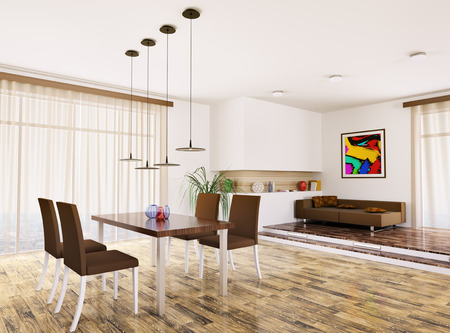 Interior of modern apartment living room 3d render Stock Photo - 23035703