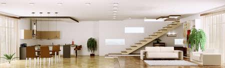 Innenraum des modernen Wohnung Wohnzimmer K?che Panorama 3d render