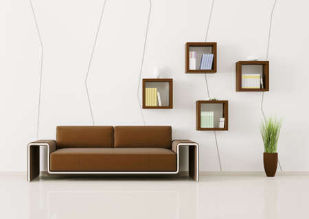 Interior of living room with sofa and bookshelves 3d render photo
