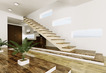 Interior of modern entrance hall with staircase 3d render Stock Photo - 23035739