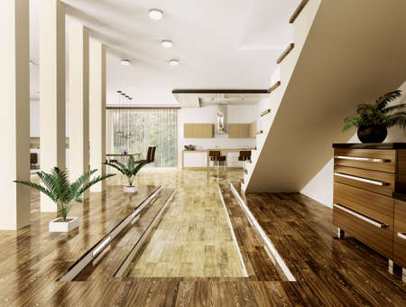 Inter of modern apartment living room hall 3d render Stock Photo - 23035740