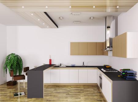 Interior of modern kitchen 3d render Stock Photo - 23035741