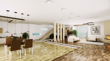 Inter of modern apartment living room hall 3d render Stock Photo - 23035742