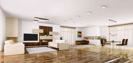 Interior of modern apartment living room panorama 3d render Stock Photo - 23035743