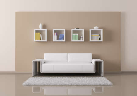 Interior of living room with sofa and bookshelves 3d render Stock Photo - 23035744