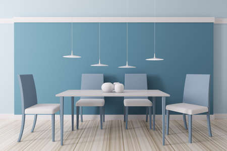 Modern blue dining room interior 3d render photo