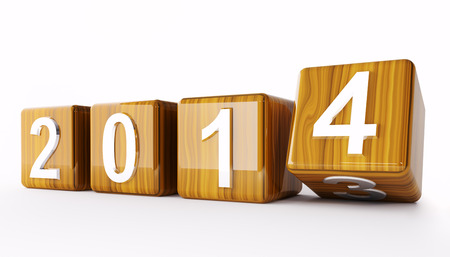 2014 new year wooden cubes 3d render Stock Photo - 23035745
