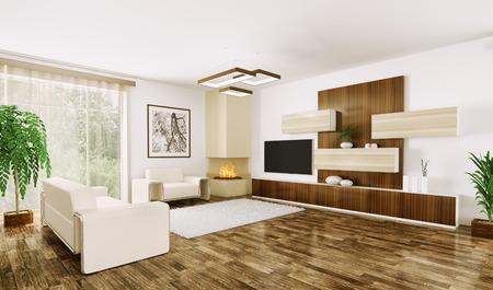 Interior of modern living room 3d render Stock Photo - 23035748