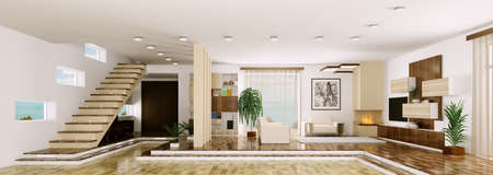carpet and flooring: Interior of modern apartment living room hall panorama 3d render Stock Photo