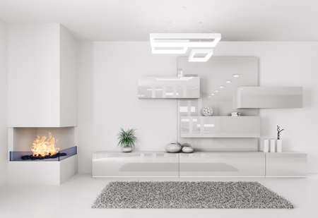 White room with fireplace and sideboard interior photo