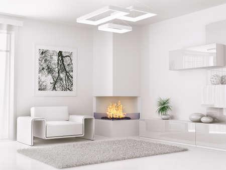 pokoj: Interiér moderní bílé místnosti s křeslem a krbem 3d render