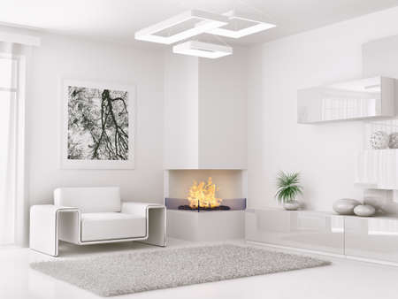 living room window: Interior of modern white room with armchair and fireplace 3d render