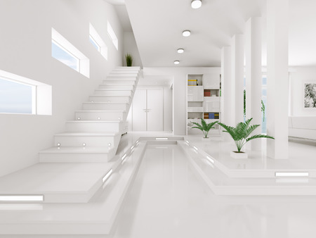 Interior of white entrance hall with staircase 3d render Stock Photo - 23337885