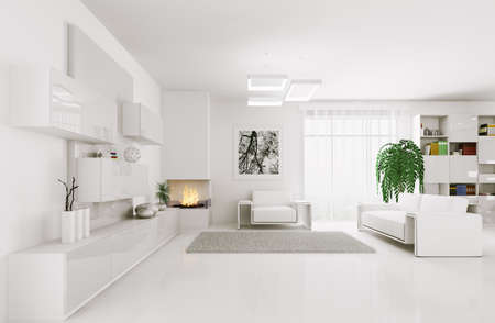 fireplace living room: Interior of modern white living room 3d render