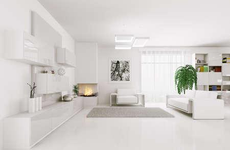 Interior of modern white living room 3d render
