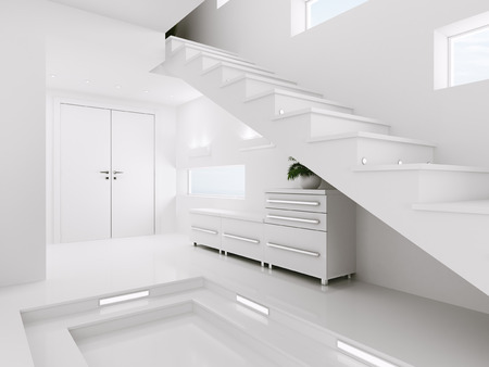 vestibule: Interior of white entrance hall with staircase 3d render