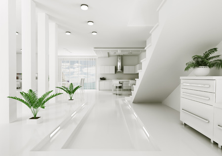 Interior of modern apartment living room hall 3d render Stock Photo - 23338141