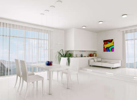 dining room interior: Interior of modern white living room 3d render