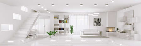 Interior of white apartment living room hall panorama 3d render photo