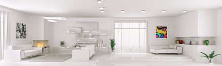 Interior of white apartment living room panorama 3d render Stock Photo
