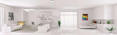 panoramic windows: Interior of white apartment living room panorama 3d render Stock Photo
