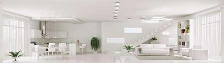 Innenansicht der weißen Wohnung Wohnzimmer Küche Panorama 3d render