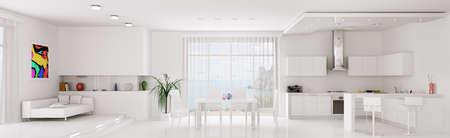 modern interieur: Interieur van witte appartement keuken eetkamer panorama 3d render