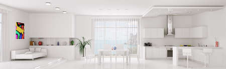 Interior of white apartment kitchen dining room panorama 3d render photo