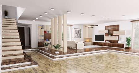 laminate flooring: Interior of modern apartment living room hall panorama 3d render Stock Photo