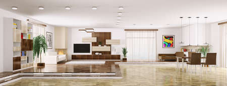Interior of modern apartment living room panorama 3d render Stock Photo - 23338839
