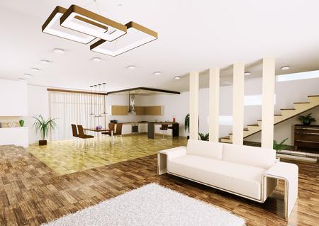 carpet and flooring: Interior of modern apartment living room kitchen 3d render