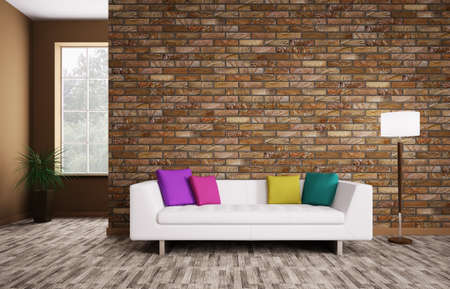 green wall: Modern interior of room with white sofa 3d render