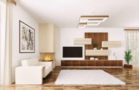 aparador: Interior do quarto moderno, com poltrona e aparador 3d rendem