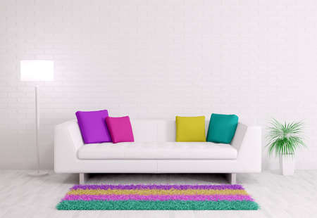 red pillows: Modern interior of room with white sofa 3d render