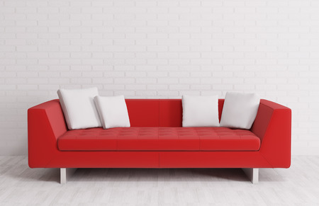 Modern interior with red sofa over the brick wall 3d render Stock Photo - 23853848