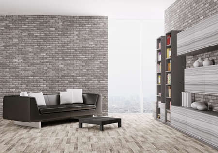 Interior of modern living room 3d render photo