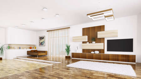 Interior of modern apartment living room panorama 3d render Stock Photo - 23862492