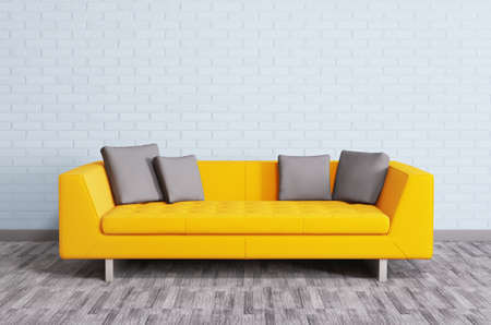 Modern interior with orange sofa over the brick wall 3d render photo