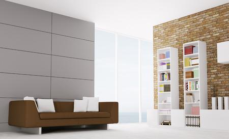 aparador: Interior da moderna sala de estar com sofá e aparador
