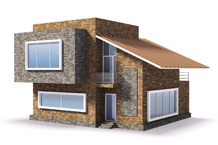 house render: Exterior of modern residential house Stock Photo