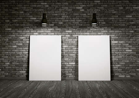 Interior of room with two whiteboards photo