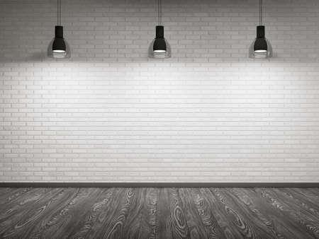 illuminated wall: Empty interior with brick wall and wooden floor