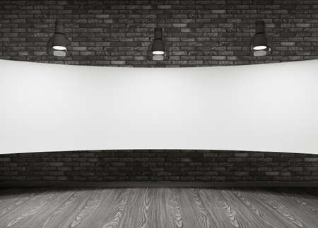 notice board: Interior of room with white placard Stock Photo