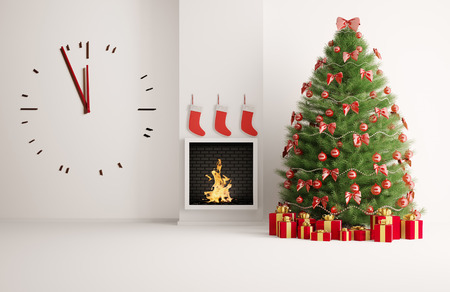 Christmas fir tree in the room with fireplace and big clock
