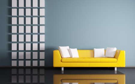amarillo: Interior moderno de la sala con sofá 3d render amarillo