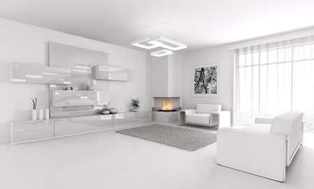 Interior of modern white living room 3d render photo