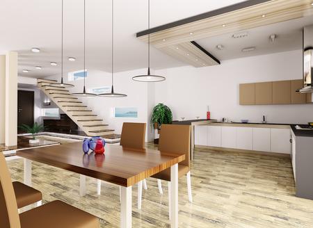 Interieur van het appartement hal keuken eetkamer Stockfoto