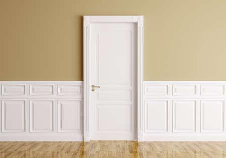 Interieur van een kamer met een klassieke deur